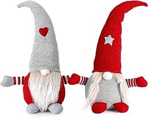 Ohuhu Christmas Gnomes, 2 Pack Gnome Christmas Decorations, Handmade Swedish Gnome Tomte, Nordic Gnome Plush, Stuffed Gnome for Xmas Home Table Ornaments Christmas Decor 16.5 Inch