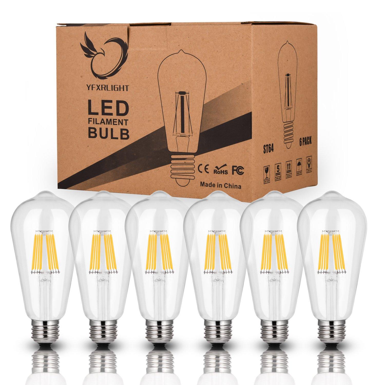 Amazon.com: YFXRLIGHT Led Edison foco 6W regulable ...