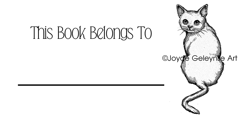 Amazon com bookplates book stickers cat looking over shoulder