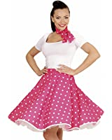 Widmann 01078 - 50s Disfraz Adulto Rock'n'Roll Chica, Lunares falda y pañuelo, Pink, One Size Fits All