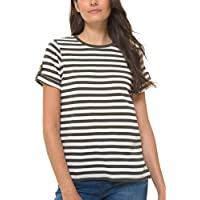 MICHAEL KORS Womens Green Striped Short Sleeve Crew Neck T-Shirt Top AU Size:14