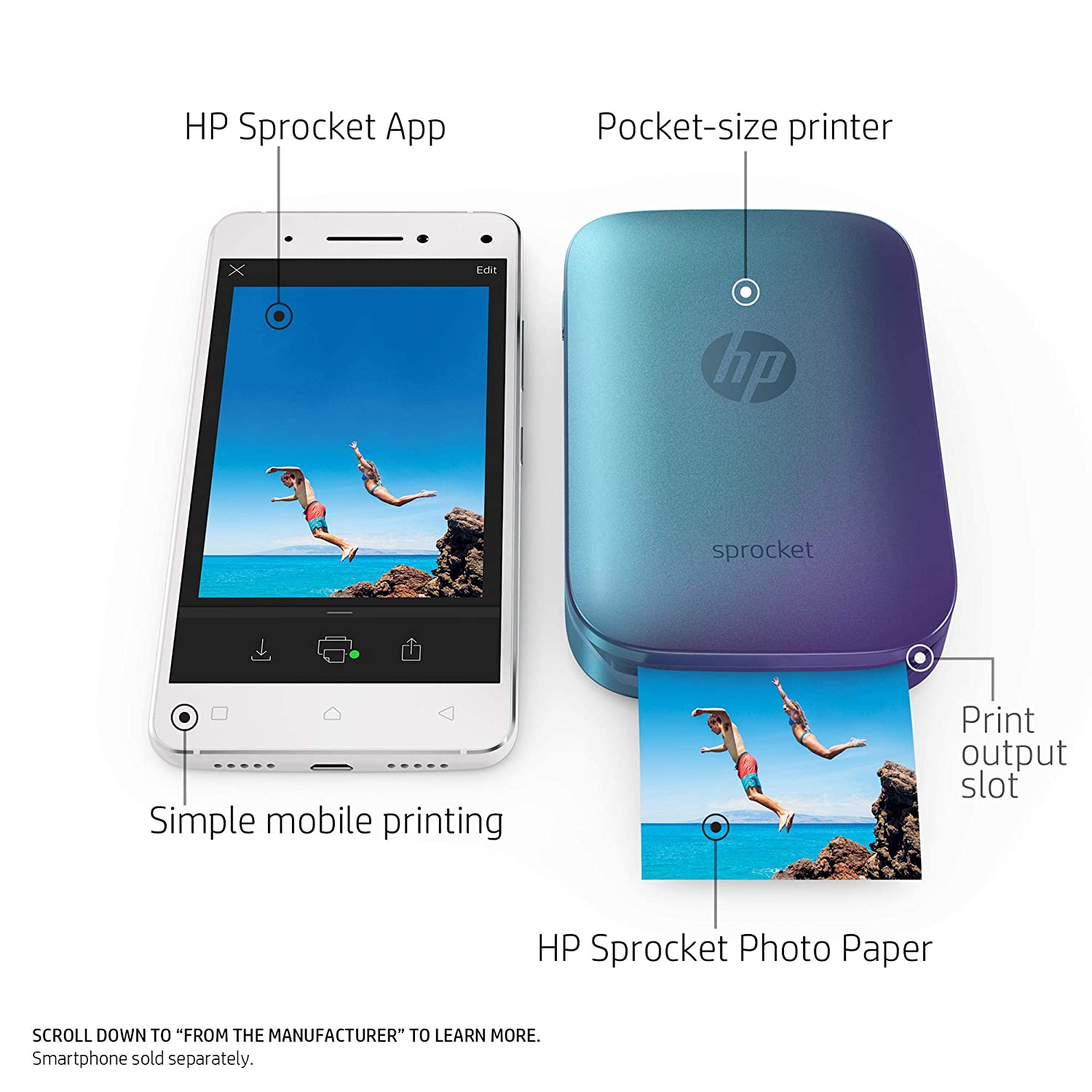 amazon com hp blue sprocket portable photo printer print social