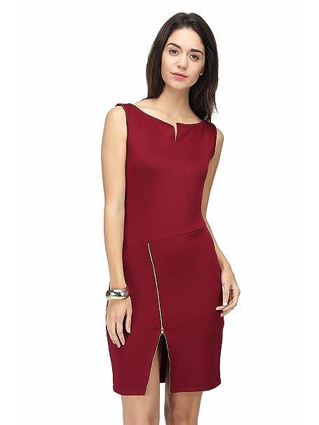 eavan Women's Maroon Bodycon Dress Dresses   Jumpsuits
