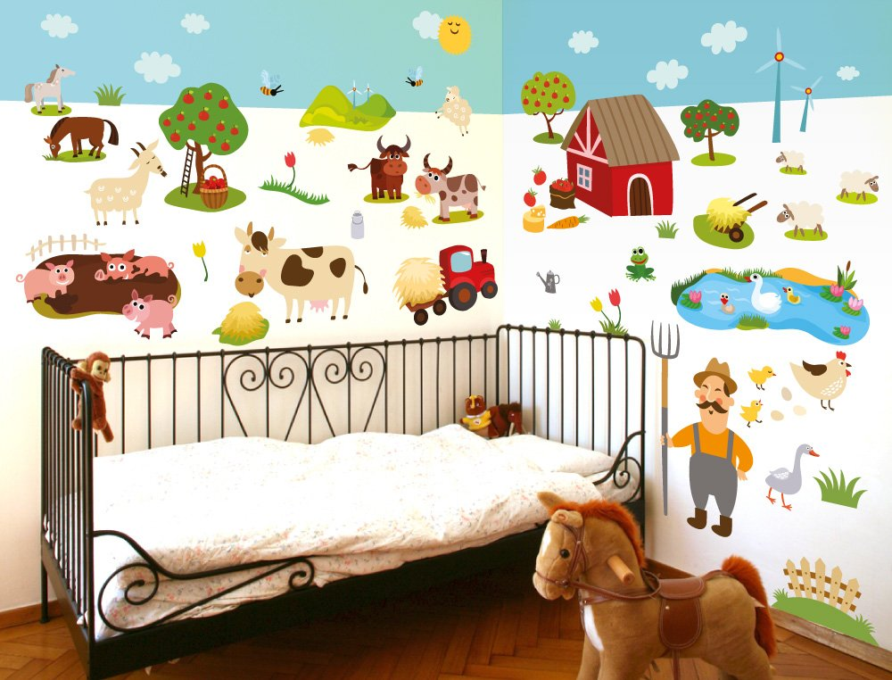 I-love-Wandtattoo WAS-10011 Wall stickers Kids Farm animals Sticker Wall Decal Boy Girl