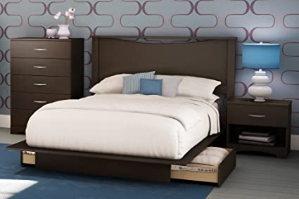 Charming South Shore Bedroom Set Step One Collection, Chocolate, 4 Piece