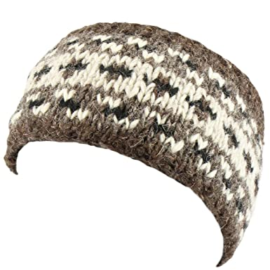 a5798cbbc00 Loud Hats Wool Knit Patterned Headband - Natural Dark  Amazon.co.uk   Clothing