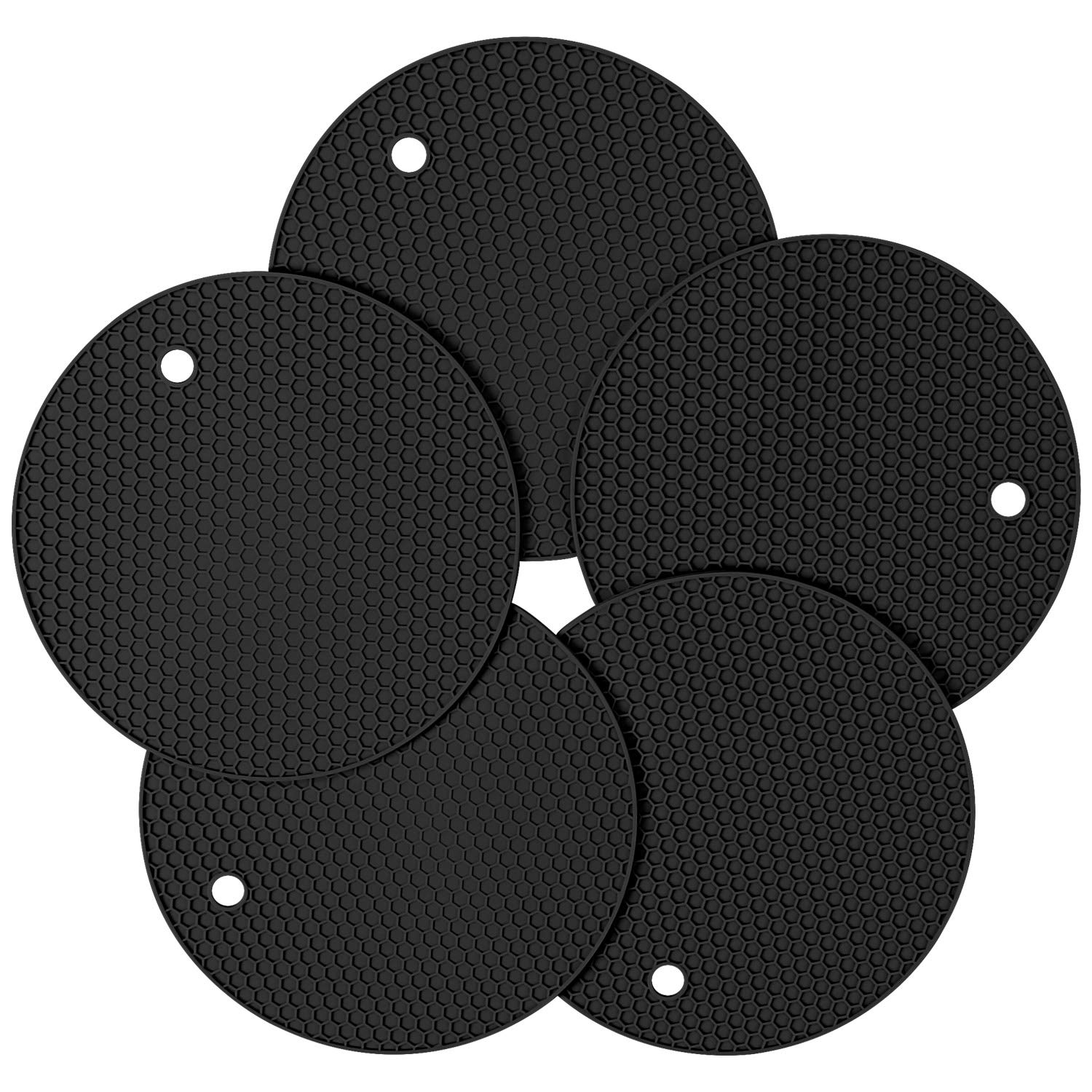 Gifts for Thanksgiving Day, Christmas, Silicone Pot Holder and Oven Mitts, Multipurpose Non-slip Insulation Honeycomb Rubber Hot Pads Trivet, Heat Resistant Antislip Place Mat, Pack of 5 (Black)