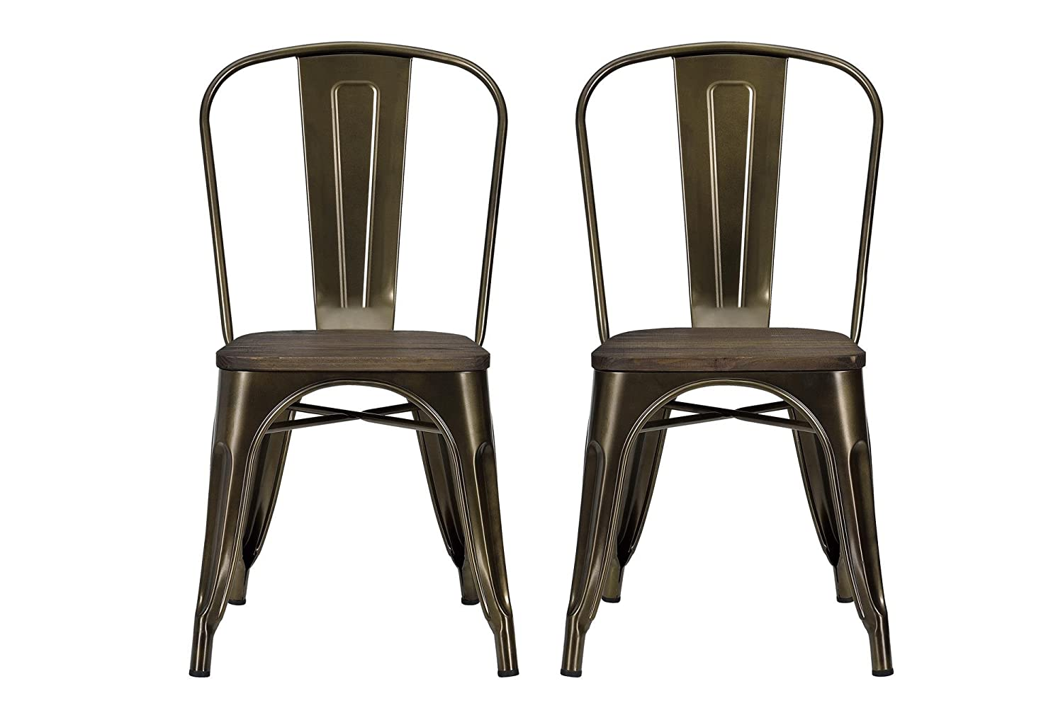 Amazon.com: DHP Fusion Metal Dining Chair with Wood Seat (Set of 2 ...