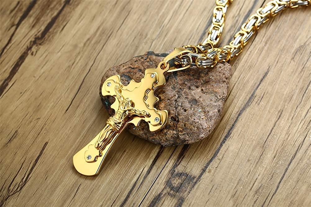 Details about  /Stainless Steel Golden Jesus Cross Cruxifix Flat Byzantine Chain Necklace GG1