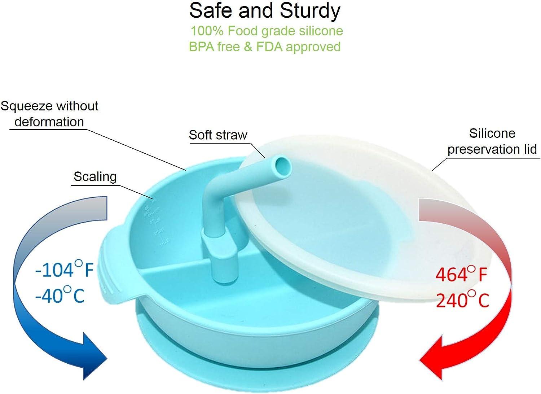paille et cuill/ère assortie Yummy Baby Bol /à ventouse en silicone avec couvercle 3 couleurs bleu