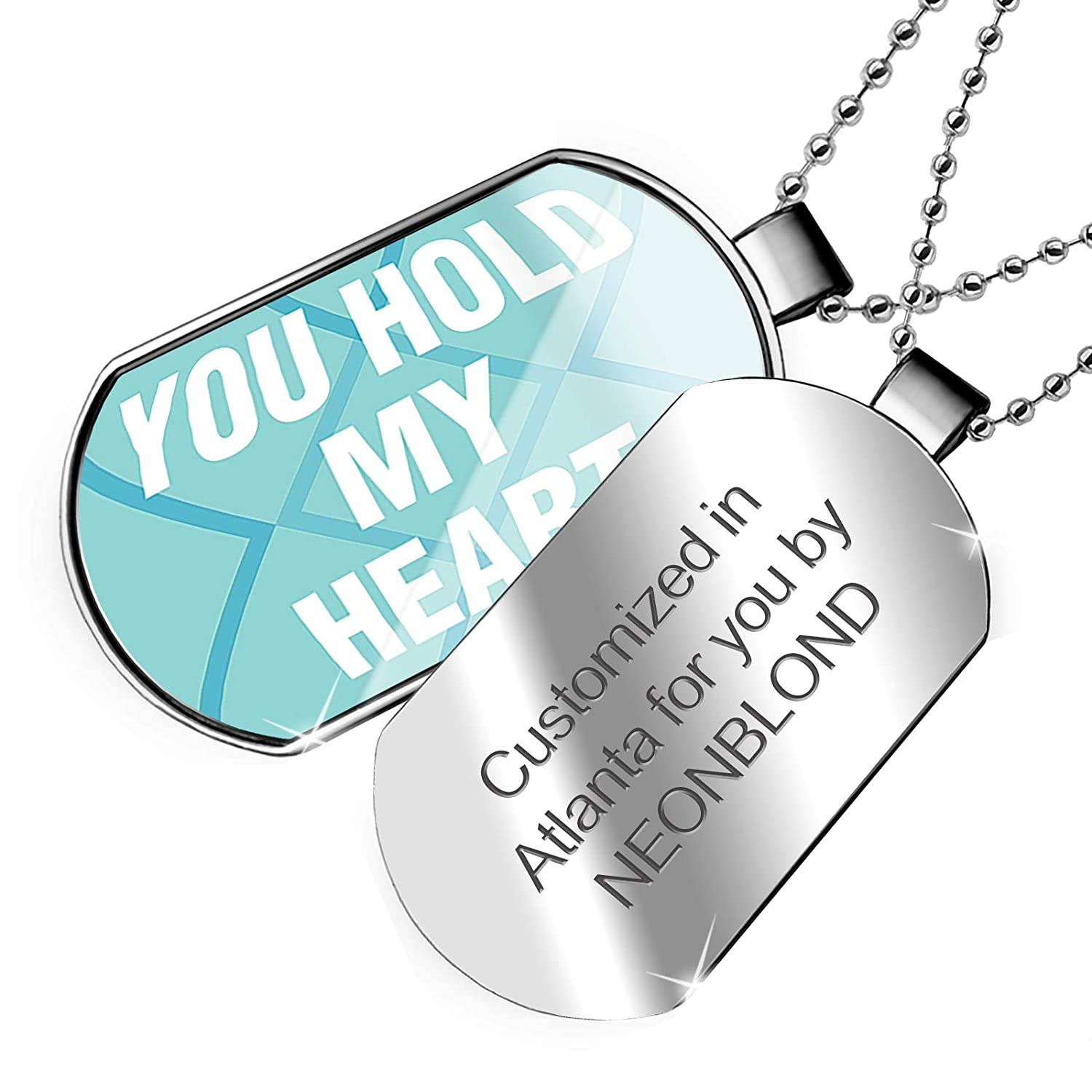 NEONBLOND Personalized Name Engraved You Hold My Heart Mothers Day Bold Blue Design Dogtag Necklace