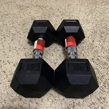 2 X 15 LB PAIR RUBBER COATED HEX DUMBBELLS WEIGHTS  WEIDER 30 Pounds Ships Fast