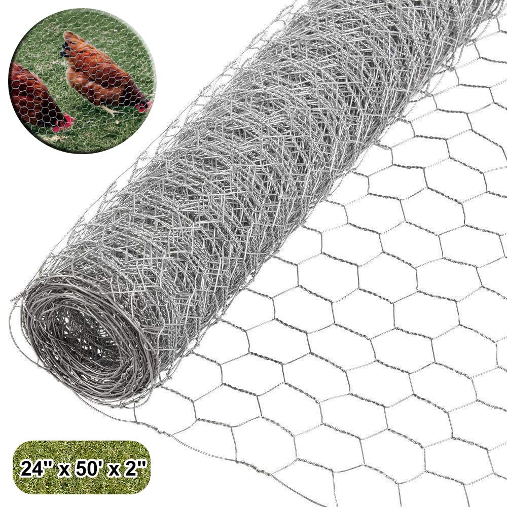 MOCCO 24'' x 50' Galvanized Hexagonal Fence Poultry Net Netting | 2'' Green Garden Protect Stainless Steel Roll | Reusable Protection for Chickens, Ducks, Geese, Rabbits, Garden by MOCCO