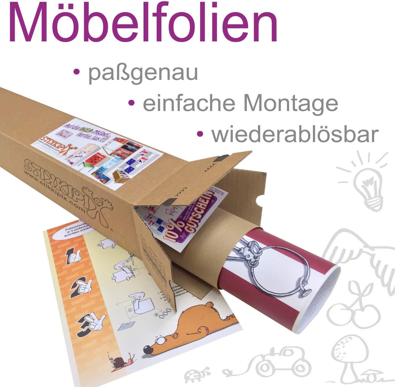 M/öbel Nicht Inklusive passend zum IKEA Kinderbett FLAXA passgenaue Klebe-Folie f/ür Schubk/ästen und Stirnseite FLX09 STIKKIPIX Piraten Schiff M/öbelfolie