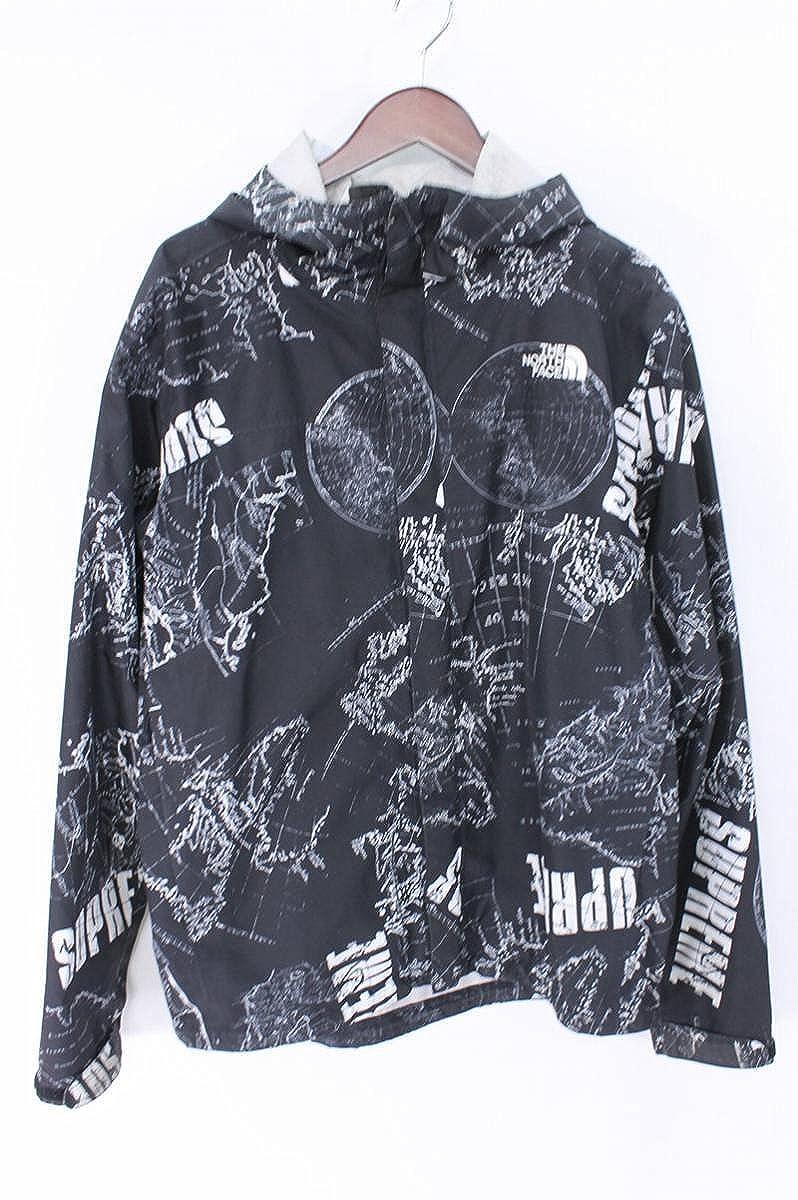 (シュプリーム) SUPREME ×ノースフェイス/THE NORTH FACE 【12SS】【Venture Jacket】マップ総柄マウンテンパーカージャケット(M/ブラック) 中古 B07FP968PK