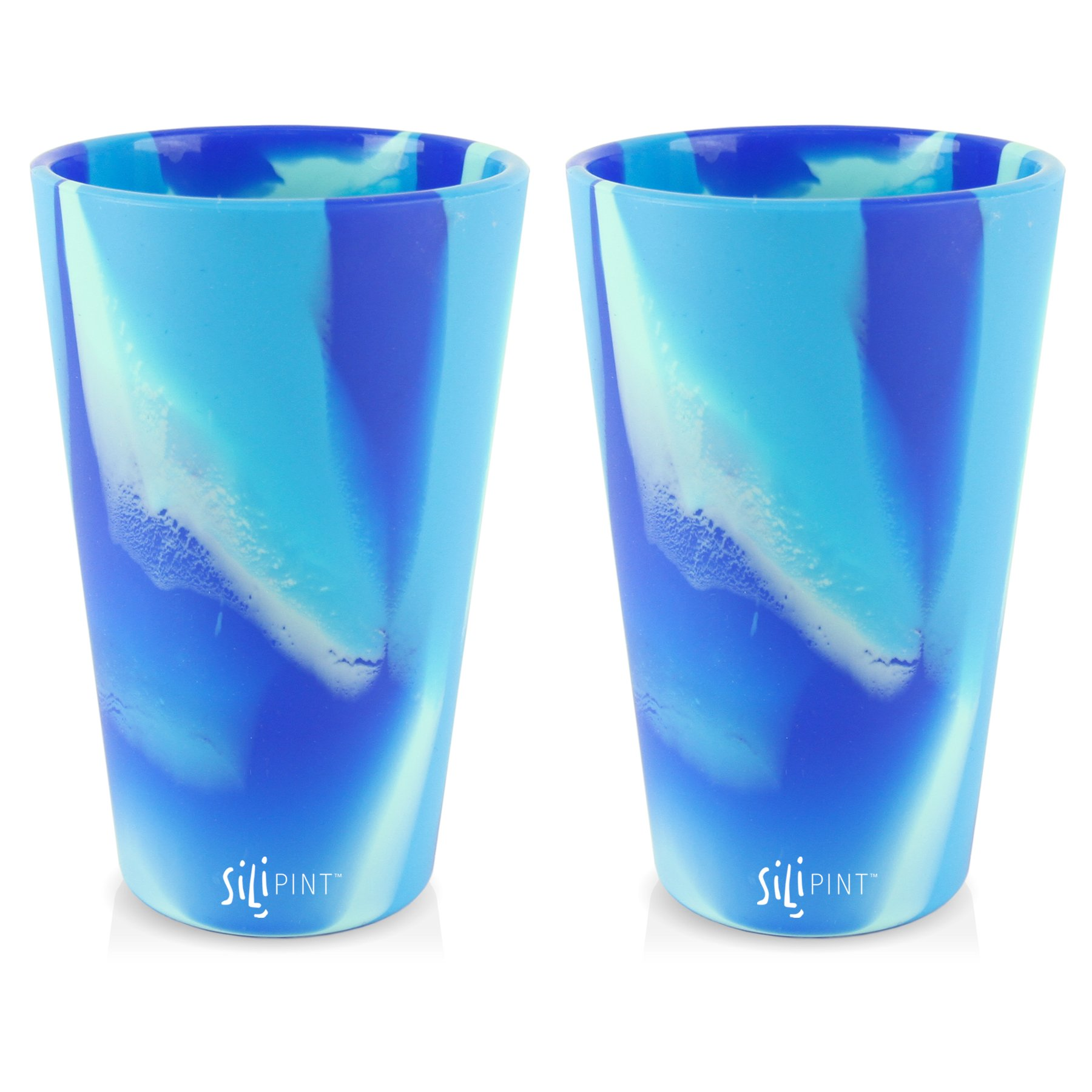 Silipint 2-Pack Arctic Sky - Silicone Cup Drinkware, BPA-Free, Unbreakable, Microwave Safe, Shatter-Proof - For Any Drink Use, Traveling, Camping, Hiking, Hanging Out, Small or Large Parties