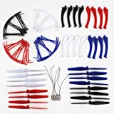 AVAWO® Upgraded 4 Colors Syma X5HC X5HW Spare Parts Main Blade Propellers & Motor & Propeller Protectors Blades Frame & Landing Skid Included Mounting Screws for RC Mini Quadcopter Toy