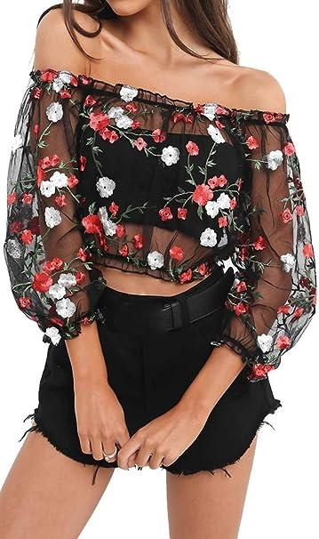 Yeesea Mujer Verano Elegante Transparente Perspectiva Camisas Off Shoulder Bordado Flores Camiseta Blusa Crop Top: Amazon.es: Ropa y accesorios
