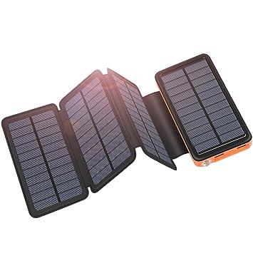 ADDTOP Cargador Solar 25000mAh Banco de energía portátil con Entrada Tipo C Cargador de teléfono con 4 Paneles para iPhone, Samsung, tabletas, ...