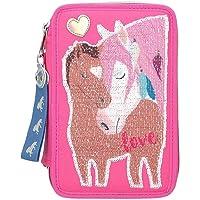 Depesche 10529 etui 3-voudig met pailletten, Miss Melody LOVE, roze, ca. 20 x 13 x 7 cm