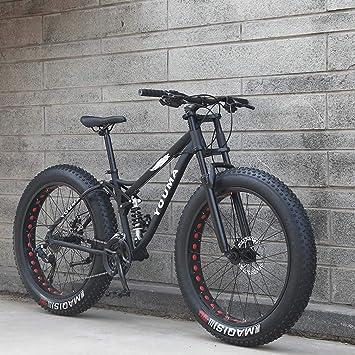 AISHFP 26 Pulgadas de Grasa neumático de la Bici de montaña, Motos de Playa Nieve, de Peso Ligero de Alta carbón del Marco de Acero, aleación de Aluminio Ruedas: Amazon.es: Deportes y