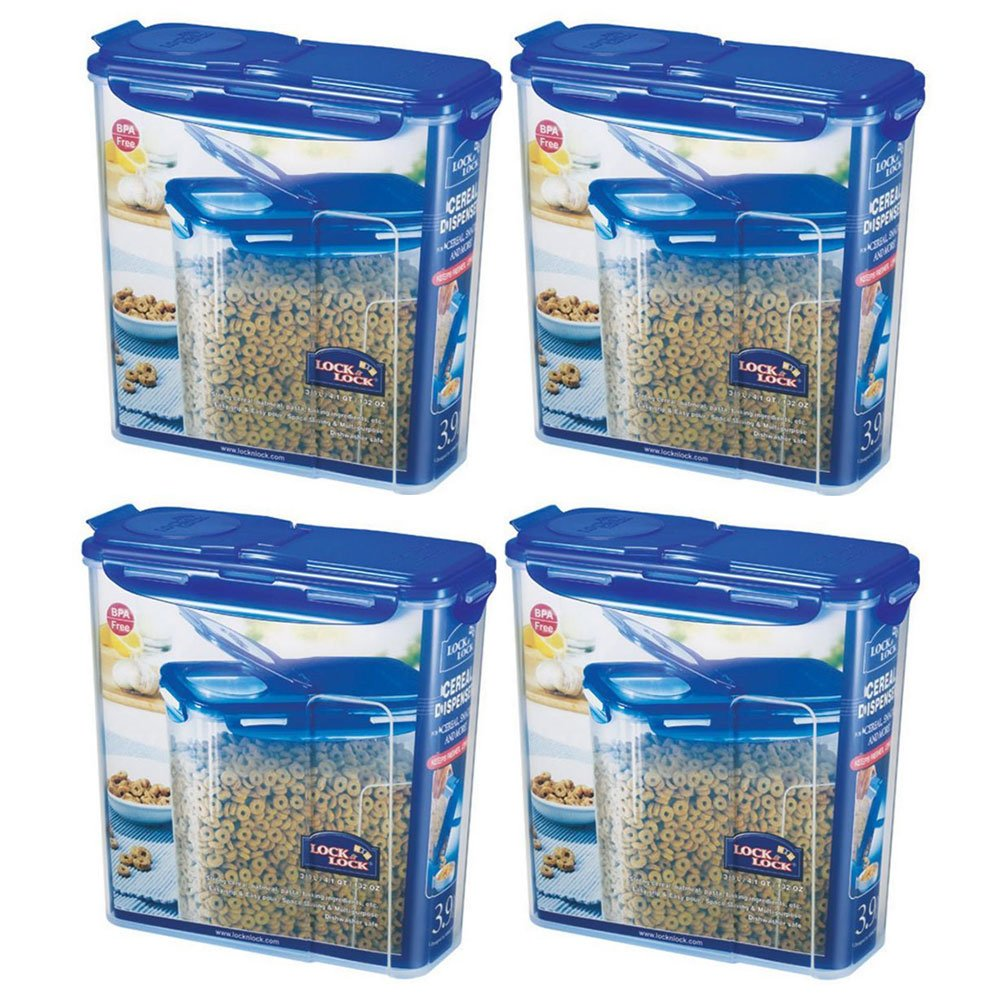 LOCK&LOCK Plastic Cereal Dispenser Dry Food Storage Keeper 3.9L(16.48 cup), Pack Of 4 by LOCK & LOCK (Image #1)