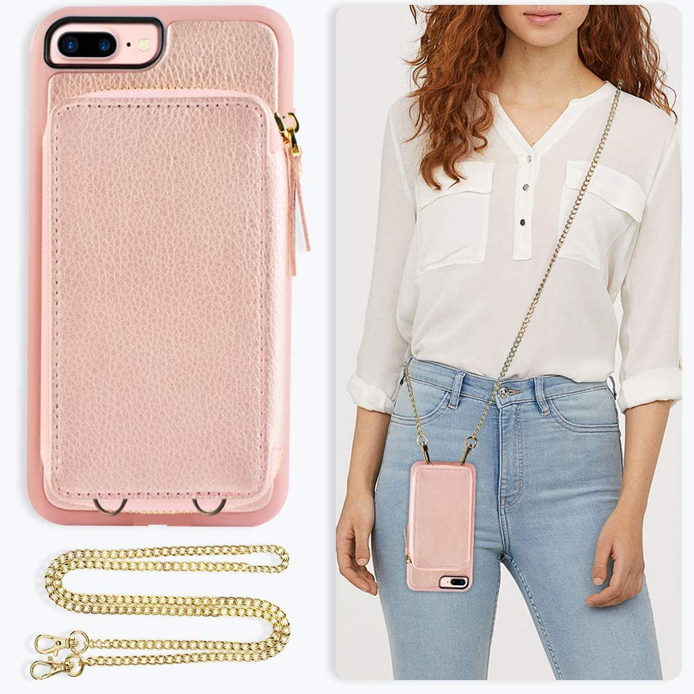 ZVE Wallet Case for Apple iPhone 8 Plus and iPhone 7 Plus, 5.5 inch, Wallet Case with Crossbody Chain Credit Card Holder Slot Zipper Purse Case for Apple iPhone 8/7 Plus and 8 Plus - Rose Gold