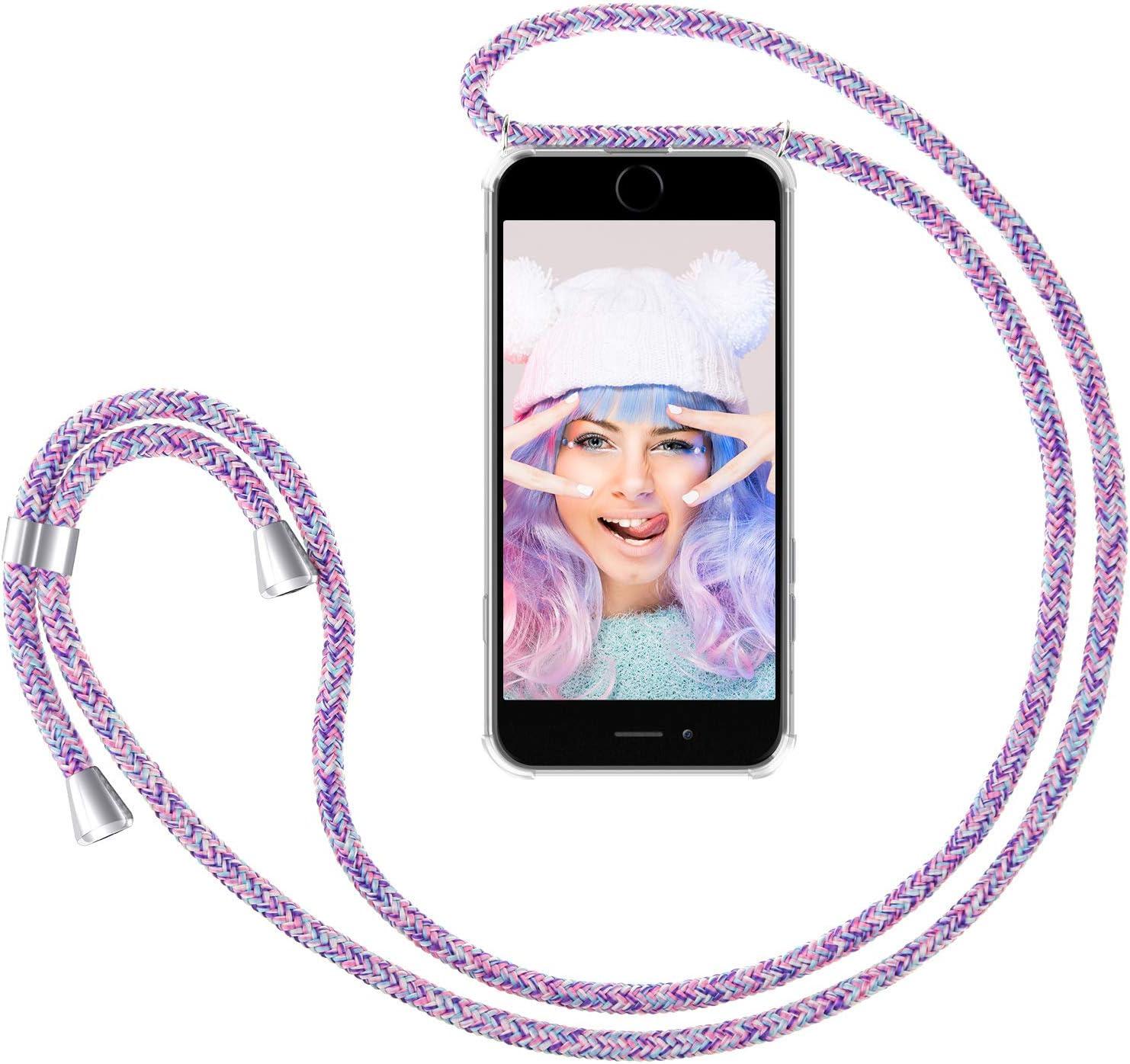 ZhinkArts Handykette kompatibel mit Apple iPhone 7 Plus // 8 Plus Smartphone Necklace H/ülle mit Band 5,5 Display Handyh/ülle Case mit Kette zum umh/ängen in Blau