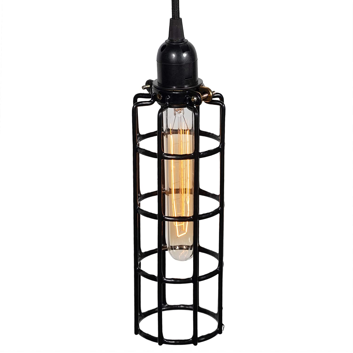 Rustic state long cylinder metal wire light cage guard for pendant lamps diy lighting fixtures black amazon com