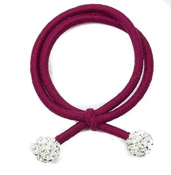 Mytoptrendz® Crystal Ball Double Row Elastic Ponytail Holder Burgundy   Amazon.co.uk  Beauty 279b5cc93f2