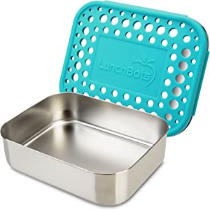 LunchBots Medium Uno Stainless Steel Sandwich Container - Open Design for Wraps - Salads or a Small Meal - Eco-Friendly - Dishwasher Safe and BPA-Free - Aqua Dots