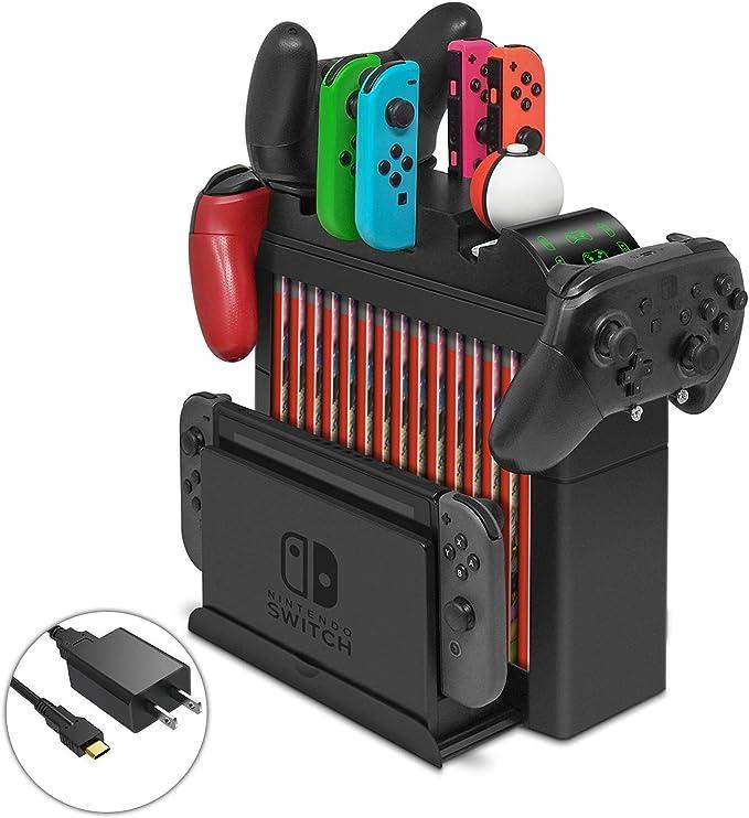 Base de Carga multifunción para Nintendo Switch, Organizador y Soporte de Almacenamiento con Cargador rápido: Amazon.es: Electrónica