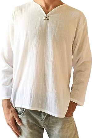 Love Quality - Camiseta de manga corta para hombre, 100% algodón, camisa con cuello de pico, ideal para la playa, yoga, de estilo hippie - Blanco - Small: Amazon.es: Ropa y accesorios