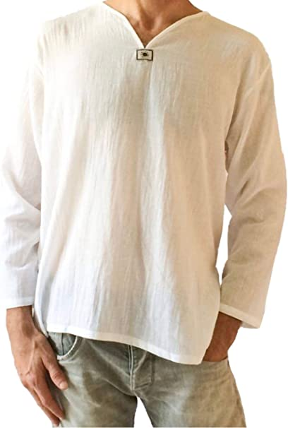 Love Quality Mens White T-Shirt 100% Cotton Hippie Shirt V-Neck Beach Yoga Top