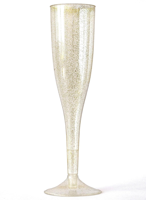 50 Gold Glitter Plastic Champagne Flutes | Elegant Plastic Toasting Glasses | Luxurious Plastic Wedding Champagne Flutes | Plastic Champagne Flutes Bulk | Plastic Prosecco Glasses