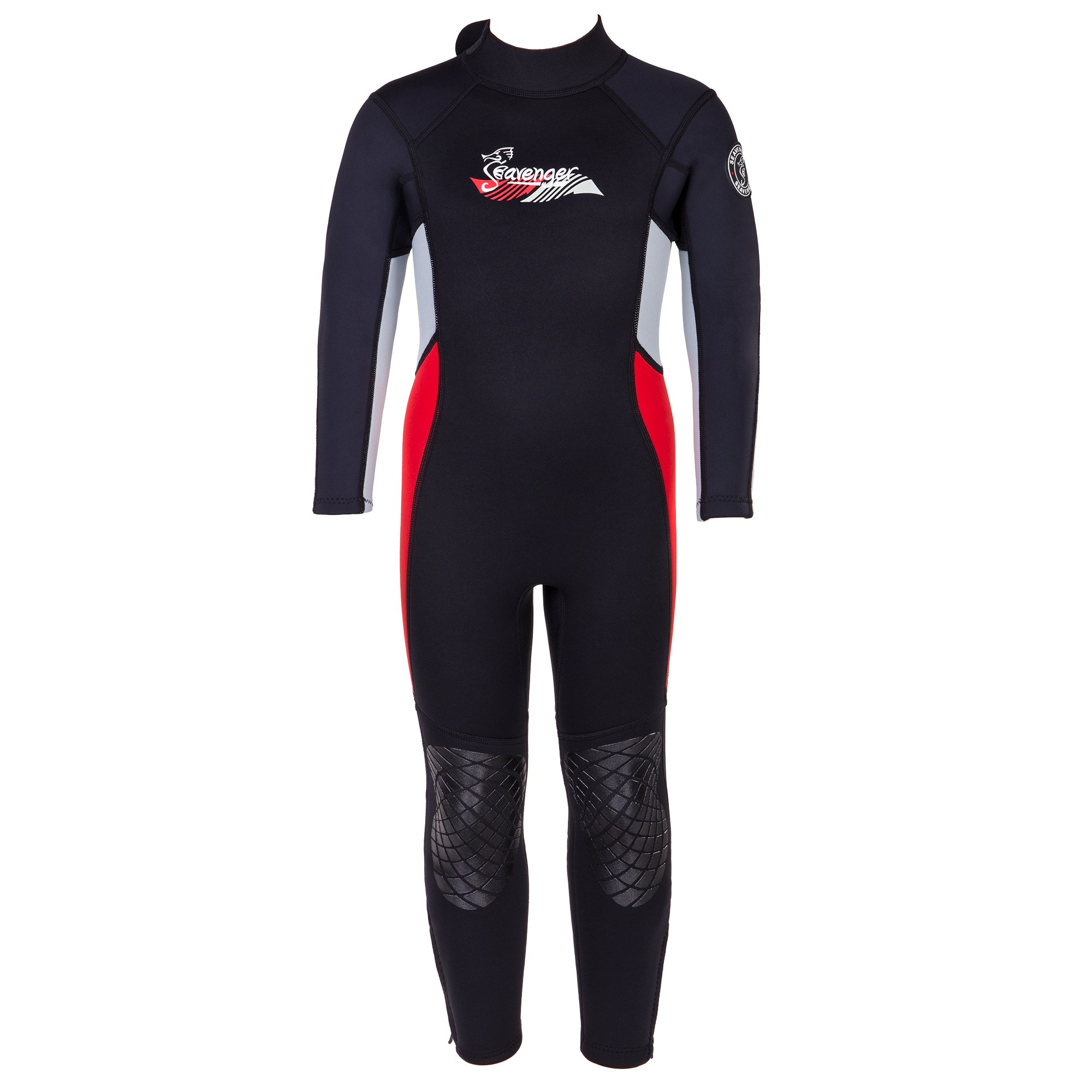Seavenger Scout 3mm Kids Wetsuit | Full Body Neoprene Suit for Snorkeling, Swimming, Diving (Fire Red, 8) by Seavenger