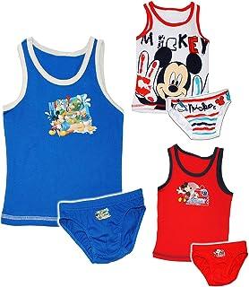 2 TLG. Set: Unterwäsche -  Disney Mickey Mouse - Maus  - Gr. 104 / 110 - Größe 3 bis 4 Jahre - Slip & Unterhemd - 100 % Baumwolle - Unterhose - für Kinder P.. Unbekannt