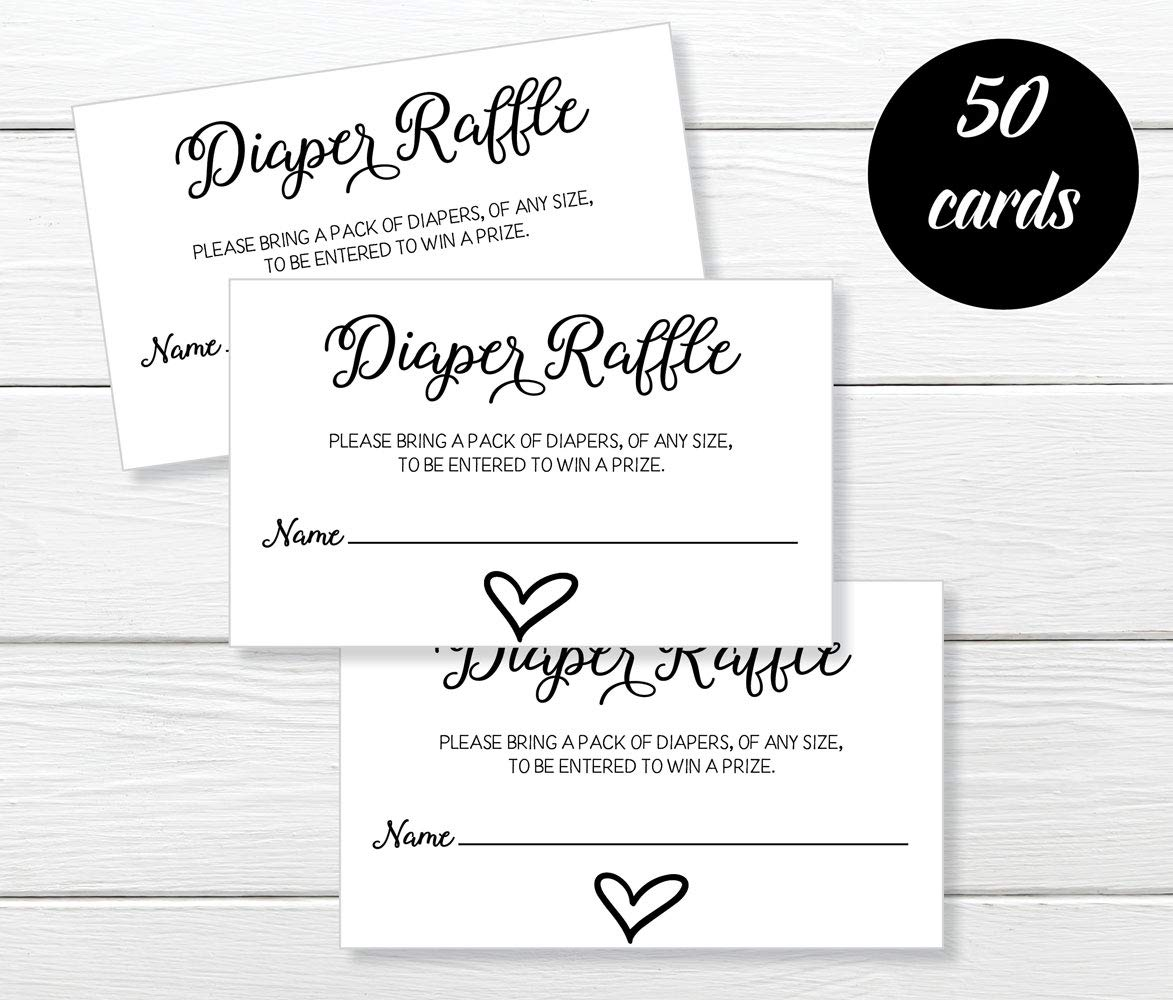 Lottery Insert Cards for Heart Baby Shower Invitations Supplies Games for Baby Gender Tickets All Ewired Up 50 Gender Neutral Watercolor Heart Baby Shower Diaper Raffle Tickets 50-Cards