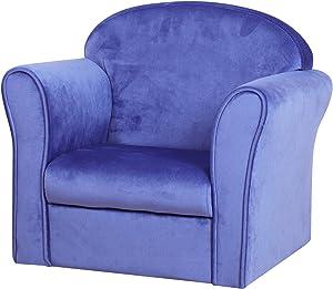 Single Velvet Kids Sofa Chair, Upholstered Toddler Mini Armchair, Bbay Furniture Gift for Boys & Girls (Blue)