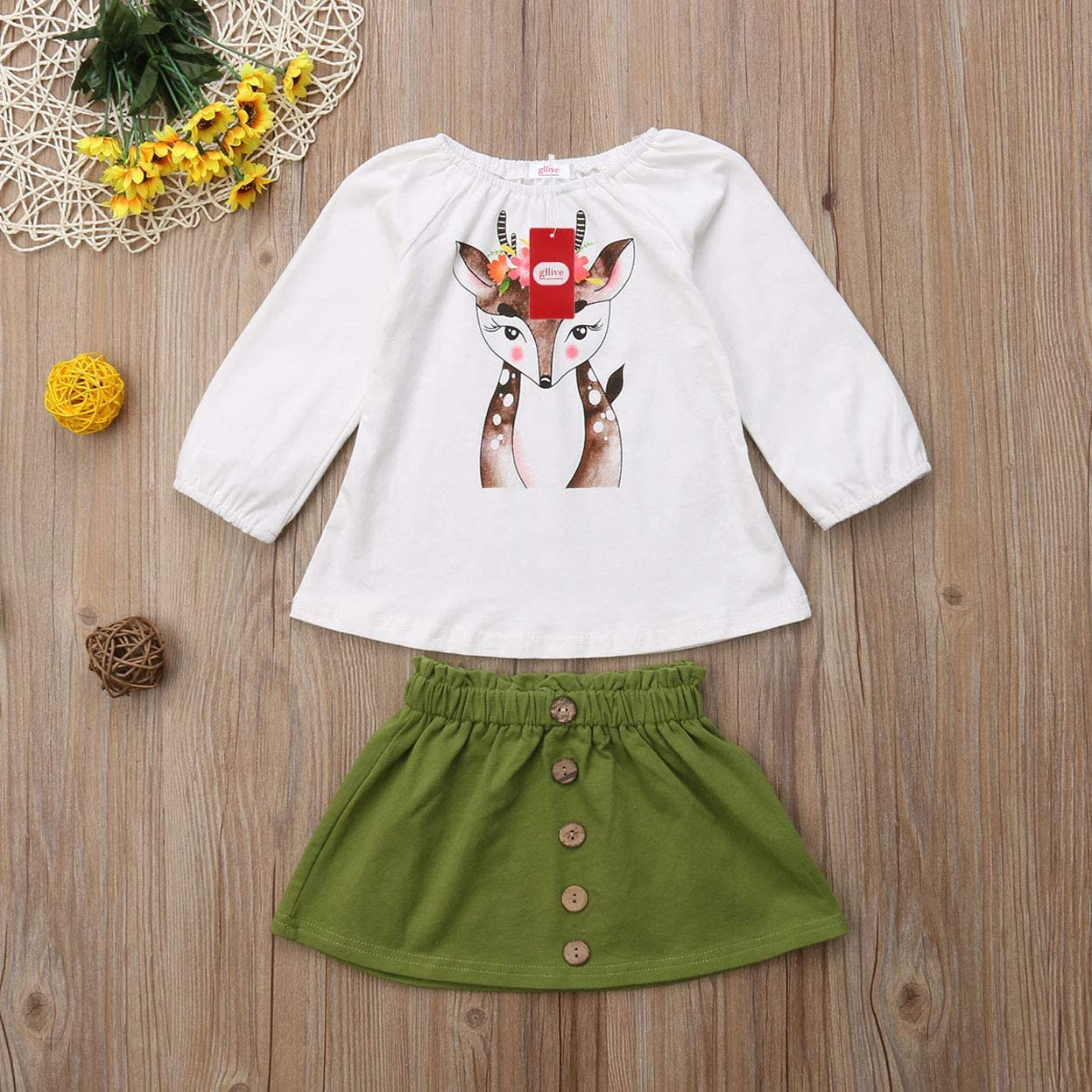 Vohawsa Toddler Baby Girls Long Sleeve Ruffle T Shirt Tops Short Denim Skirts 2Pcs Summer Fall Casual Outfits Clothes Set