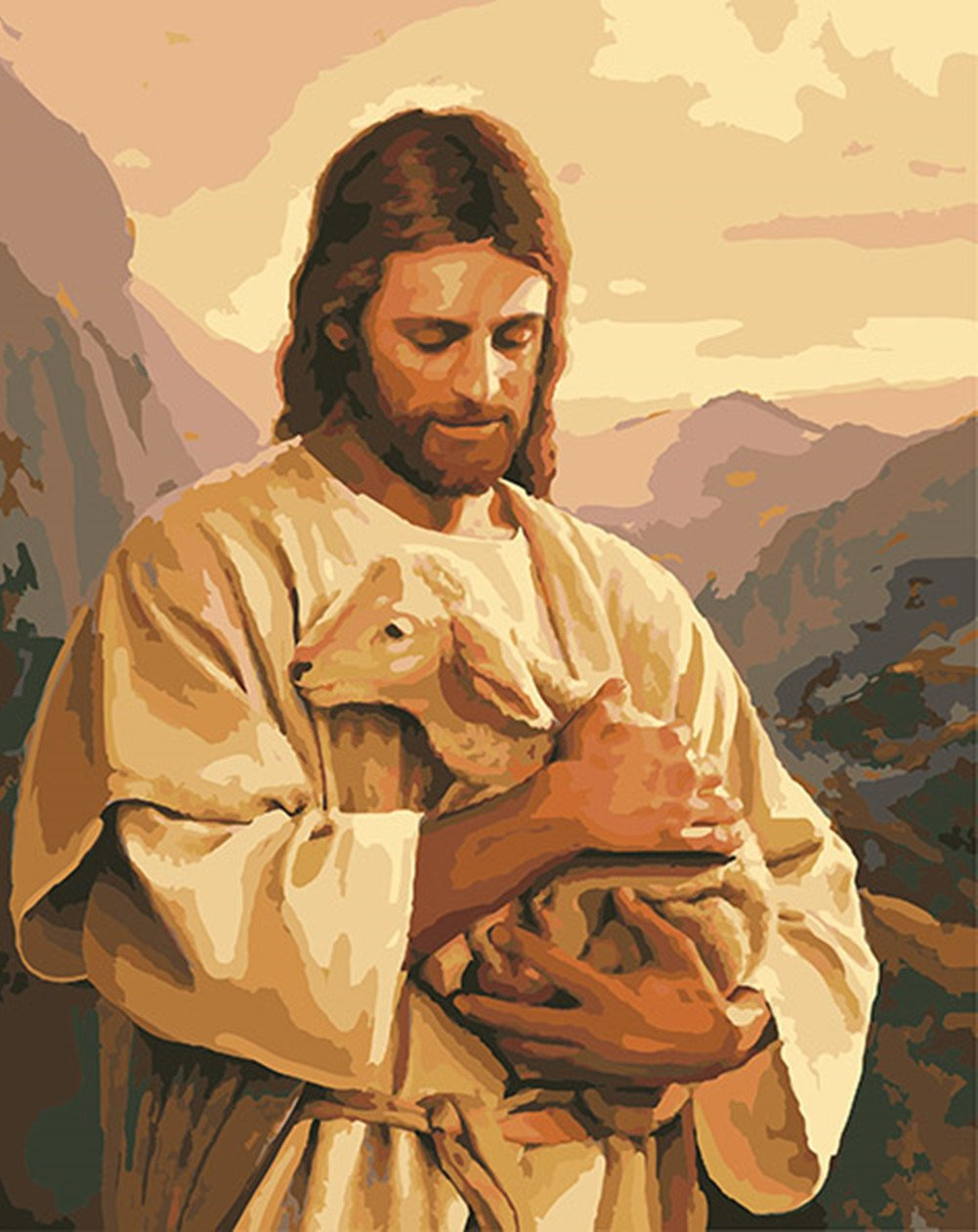 CaptainCrafts New Paint by Numbers 16x20 for Adults, Kids LINEN Canvas - Jesus Embrace Small Shepherd (With Frame) by CaptainCrafts