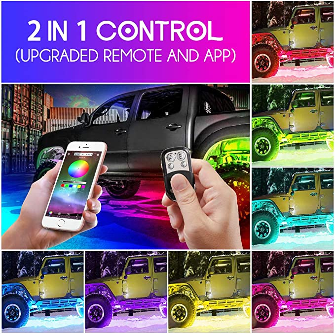 Haofy Auto Rgb Led Rock Lights Kit 4 Pods Multicolor Hell Neon Light Mit Bluetooth App Steuerung Und Kabelloser Controller Wasserdichtes Beleuchtungs Kit Mit Timing Funktion Musikmodus Bremsmodus Auto