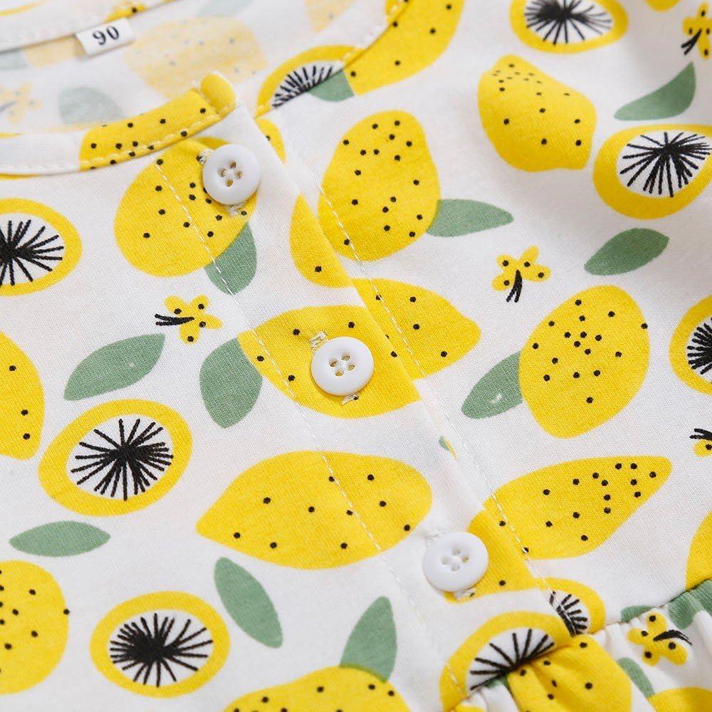 Kehen Kid Toddler Girl Party Dress Long Sleeve Lemon Print Princess Dress Button Pageant Dresses Autumn Winter Clothes