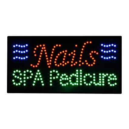 LED Nails Spa Pedicure Open Light Sign Super Bright ...