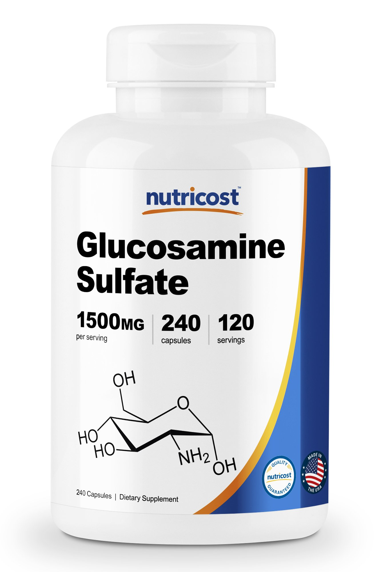 Nutricost Glucosamine Sulfate 750mg, 240 Capsules (1500mg Per Serving) by Nutricost