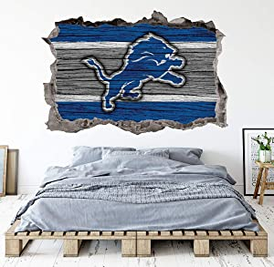 Football Detroit Team Wall Decals Art 3D Smashed Custom Fan Lions Wall Decor Bedroom Garage Removable Vinyl Wall Stickers Gift WL169