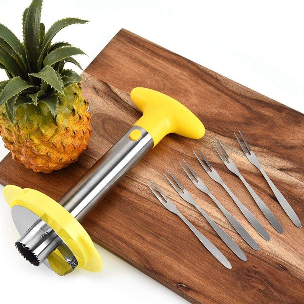 Extractor de n/úcleo de pi/ña con tenedor y separador de coraz/ón de fruta cortada de pi/ña Chutoral