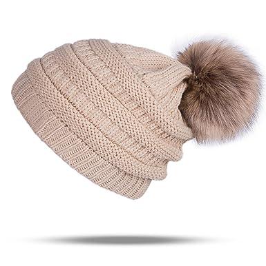 953fdf45d1d35d UPhitnis Bommelmütze Mütze Damen   Warme Strickmütze mit Fleecefutter  Rollrand   Elegantem Wintermütze mit Fellbommel Pom