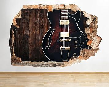 tekkdesigns C930 Guitarra eléctrica música Studio Smashed Adhesivo Pared 3D Arte Pegatinas Vinilo habitación: Amazon.es: Hogar
