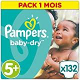 Pampers - Baby Dry - Couches Taille 5+ (13-25 kg/Junior+) - Pack Economique 1 mois de consommation (x132 couches)